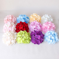 Wholesale christmas wreath wholesalers - 18cm artificial silk hydrangea flower head diy wedding bouquet flowers head wreath garland home decoration G1180
