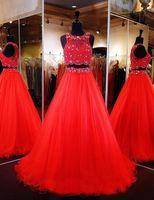 robes de soirée achat en gros de-Superbe 2017 Deux-pièces Robes De Bal Red Beaded Crop Top Jewel Robe De Bal Robes Formelles Robes De Soirée Pageant