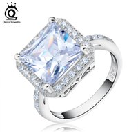 Wholesale Wholesale Princess Cut Diamond Rings - Orsa Top Grade 5 ct Princess Cut CZ Diamond with White Gold Plated Engagement Ring for Women OR97