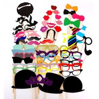 58 pc / divertimento Photo Booth Props su un bastone baffi cappello Lip fai da te Kit Photobooth Wedding della festa di compleanno favori Decorazione