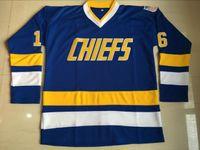 Wholesale Red Slap - Charlestown Chiefs Jersey, Mens Hanson Brother Slap Shot 16 JACK HANSON 17 STEVE HANSON 18 JEFF HANSON Movie Hockey Jersey Blue Black S-3XL
