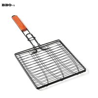 Новый DIY Non-Stick Triple Fish Grill Basket w / Wood Handle Outdoor BBQ Grilling Fish Rack Barbecue Tool Fish Grill Net
