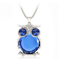 Wholesale Wholesale Sweaters For Women - 2016 New arrival Top quality sweater chain Owl pendant necklace for women set with crystal and pearl