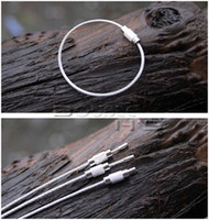 Wholesale Steel Wire Keychain - 10pcs lot Stainless Steel Wire Keychain Cable Key Ring for Outdoor Hiking