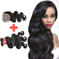 Wholesale Cheap Wholesale Black Hair Products - 7A Brazilian Virgin Hair With Closure Rosa Hair Products Cheap Brazilian Body Wave Hair Bundles With Lace Closure Human Hair Weave