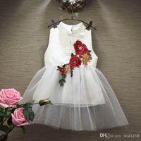 Wholesale S16 Dresses - DHL Summer Children Girls Flower Lace Drsses Baby Kids Toddler Tank Cheongsam Sleeveless Wedding Pageant Gown Formal Princess Dress ZJ-S16