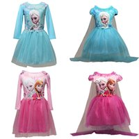 Wholesale Wholesale Long Sleeve Mesh Dress - PrettyBaby 2 colors Frozen Elsa princess style dresses with mesh capes short sleeves long sleeves two models cosplay party free shippping