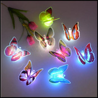 Wholesale colorful wall lights - Colorful Changing Butterfly LED Night Light Lamp Home Room Party Desk Wall Decor LLWA199