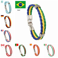 Wholesale cup chain settings wholesale - Flag Color Leather Bracelet Punk Handmade World Cup Countries 3 colors Bracelets Jewelry Women and Men Wholesale Drop Shipping