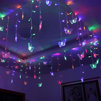 Wholesale Led Christmas Lights Butterfly String - 8M x 0.5M 192PCS LED String Fairy Curtain Light With 48PCS Butterfly Led Curtain light Celebration Wedding Party Ball Decoration