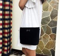 Wholesale Velvet Cosmetic Bags - 2017 Fashion Black Chain Cosmetic Bag Famous Logo Luxury Party Bag Flannel Shoulder Bag Good Velvet Handbag