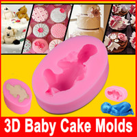 Wholesale chocolate baby molds - Fondant Diy silicone mold Three 3D Sleeping baby chocolate mold silicone cake decorating molds Cake Tools sample