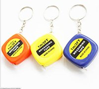 Wholesale Measuring Tape 1m - Wholesale-100PC Style New Mini Keychain Key Ring Easy Retractable Tape Measure Pull Ruler 1M Color Random