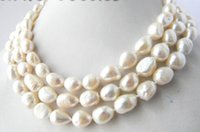 50''Long 10-13mm White Baroque Freshwater Pearl Necklaces