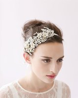 Wholesale antique white ribbon - Twigs & Honey Wedding Headpieces Hair Accessories With Pearls Crystal Women Hair Jewelry Wedding Tiaras Bridal Headbands #HP0020