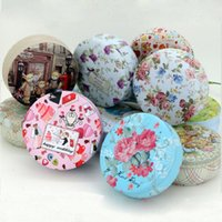 Wholesale Tinplate Wedding Candy Boxes - 100pcs Pastorale Style Round Tin Box Medicine Tea Organizer Wedding Tinplate Jewelry Storage Case Free Shipping ZA0819