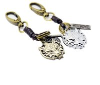 Man Chains Key Rock Style Wolf Testa Armi Design Keychains Keychain in metallo Genuine Leather Keychain Bronzo Aragosta Clasp