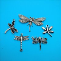 Mixed Tibetan Silver Dragonfly Charms Pendentifs Jewelry Making Bracelet Collier Fashion Popular Jewelry Findings Component Accessories V149