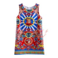 Wholesale Tank Dress For Girls Wholesale - Pettigirl 2016 New Ethnic Style Girls Tank Dress Fashion Pattern Sleeveless Tops for Kids Summer Teenager Clothes GD90124-527F