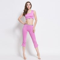 Wholesale Knee Length Tights For Women - Women Sport Yoga Sets for Running Gym Sportwear Sports Top Gym Push Up Bras Elastic Capris Fitness Tights Suits for Woman