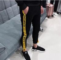 Wholesale Dance Pants Loose - 2017 new Off WHITE MEN PANTS Mens Joggers Fashion Harem Pants Trousers Hip Hop Slim Fit Sweatpants Men for Jogging Dance Colors sport pants