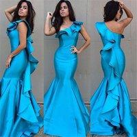 mavi ruffle elbiseleri toptan satış-Bir Omuz Mavi Fırfır Saten Mermaid Uzun Örgün Abiye 2016 Arapça Akşam Balo Abiye Vestidos