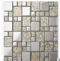 yapı mozaik toptan satış-Basit moda gümüş mozaik arka plan duvar Çin modern oturma odası banyo mutfak seramik karo dekorasyon yapı malzemeleri