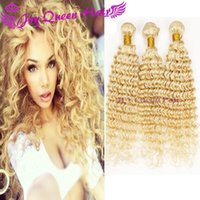 Wholesale Curly European Color 613 - Blonde Curly hair European Russian blonde human hair weave 613#Brazilian Peruvian Malaysian hair extension 3PCS blonde bundles