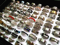 Wholesale Real Steel Ring - Brand New 50PCs mixed different styles top men's women's real stainless steel band spinner jewelry rings wholesale lots