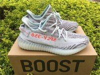 Wholesale Fashion Boots Online - Kanye West Boost 350 V2 Zebra Blue Tint B37571 Real Boost Mens Womens Running Shoes Fashion Outdoor Sneakers Cheap Wholesale Online