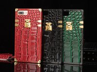 Wholesale Iphone Crocodile Leather Luxury - For IPhone 8 Plus Crocodile Grain Luxury Leather Cases For IPhone 6s 7 Plus Shock Proof Cellphone Protective Cover With Rope