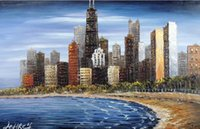 Wholesale Dr Painting - Chicago Downtown Lake Michigan Windy Lake Shore Dr. Pure Handpainted Impressionist Building Art oil painting On Canvas size can customized