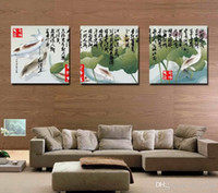 Wholesale chinese square art resale online - Feng Shui Wall Art Canvas Hd Print Decorative Zen Picture Modern Chinese Words Set30270
