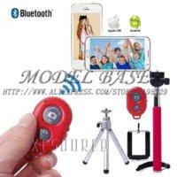 Wholesale Holder Timer - 4in1 Phone Self Timer Bluetooth Shutter+Extendable Monopod+Tripod+Holder pink tripod photo holder lcd holder lcd