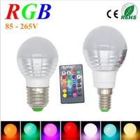 Wholesale ir light bulbs - 1Pcs Lovely 16 Colors RGB Christmas Decor Atmosphere LED Night light E27 5W 110V - 220V LED lamp Spotlight Bulb + IR Remote