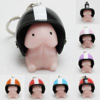 Wholesale Metal Penis Toys - 10PCS Motorcycle Helmet Keychain Personality Mini Silicone Penis Cover Creative Gift Colorful Helmet
