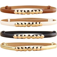 Wholesale Leather Adjustable Girdles - Wholesale-Women Faux Leather Belt Gold Tone Alloy Buckle Thin Girdle Waistband Adjustable