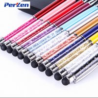 Wholesale Stylus For Galaxy S4 - 2 in 1 Colorful Crystal Capacitive Stylus Pen + Ballpoint Pen For iphone 5S 5c 4s ipad Samsung Galaxy s4 s5 Note3 DHL Free Shipping 200pcs