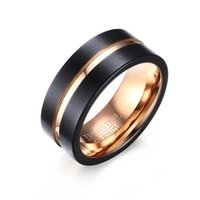 Wholesale Tungsten Black Brushed Ring - 8mm Two Tone Black Rose Gold Brushed Wedding Band in Tungsten Carbide