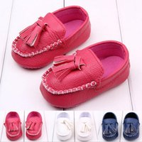 Wholesale Babys Spring - Baby First Walkers Babys Leather Shoes Baby Infant Shoes Tassel Soft Pu Shoes Blue pink white Colors