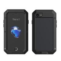iphone yağmurunu örtün toptan satış-Lüks Doom Zırh Darbeye Dayanıklı Yağmur Geçirmez Su Geçirmez Metal Kasa IPhone 7 6 S 6 6 S Artı / 5 S SE ile Gorilla Cam Alüminyum Kapak