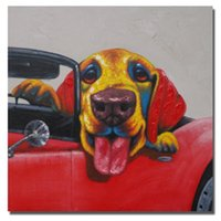 Wholesale Framed Car Pictures - On The Car Dog Painting for Living Room Wall Hand Painted Oil Painting Home Decor Wall Pictures Modern Canvas Art Animal Painting No Framed