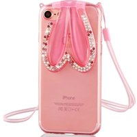 MANDERM weiche TPU Strass Dekoration Rosa / Lila / Transparent-Telefonkästen TPUIP7ted-001 für Apple Iphone 7
