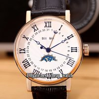 Wholesale Moon Cases - Super Clone Brand Cheap Grandes Classique Compliciations White Dial Moon PhaseAutomatic Mens Watch Leather Strap Rose Gold Case Wristwatches