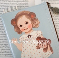 Wholesale Paper Doll Pencil - New 3 color paper doll design PU leather zipper pencil bag paper doll pouch FreeShipping 12Pcs lot