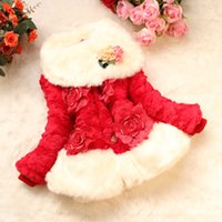 Discount polyester cotton wadding - Fashion Girls Winter Clothing Fur Collar Three-dimensional Flowers Jacket Kids Winter Outwear Girls Princess Dresses for Party Dress GDW037