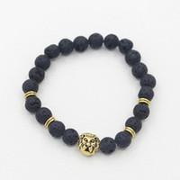 silberner löwenschmuck großhandel-Lava Stein Tier Armband Männer Schmuck Neue Mode Gold Überzogene Löwen Kopf oder Leopard Kopf Perlen Armbänder Freies Verschiffen