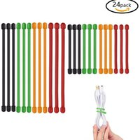 Wholesale 24PCS Inch and Inch reusable Rubber Twist Ties Assorted Colors for different data cable wire cable winder