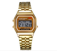 Wholesale Wholesale Gold Wrist Watches - NEW 2017 Fashion Retro Vintage Gold Watches Men Electronic Digital Watch LED Light Dress Wristwatch relogio masculino FYMHM102