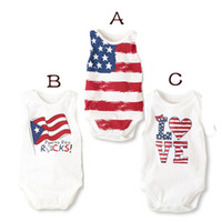 Wholesale Baby Star Suit - Baby INS stars stripes american flag rompers 3 Design Children Love Pure ins cotton rice word ensign Sling rompers suits B001